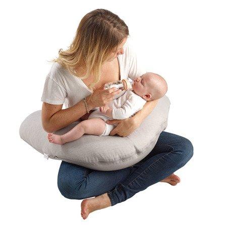 Ergonomiczna poduszka rogal dla kobiet w ciąży i karmiących Big Flopsy Fleur de coton White, Red Castle