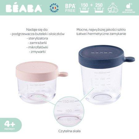 Beaba babycook Zestaw pojemników słoiczków szklanych z hermetycznym zamknięciem 150 + 250 ml pink i dark blue