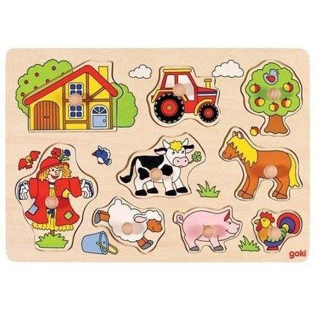 Drewniana układanka z uchwytami, puzzle – motyw Farma, Goki 57995