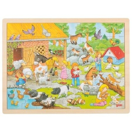 Drewniane Puzzle Farma 24 el., Goki