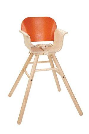 Drewniane krzesełko do karmienia, kolor pomarańcz