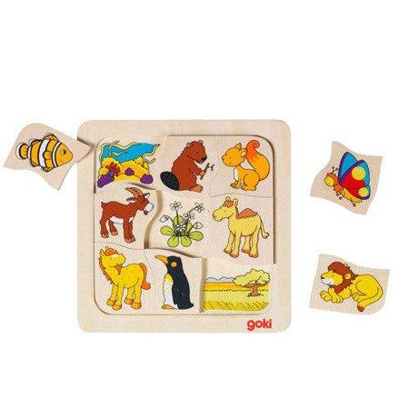 Drewniane puzzle Gdzie mieszkają zwierzątka? GOKI-56725