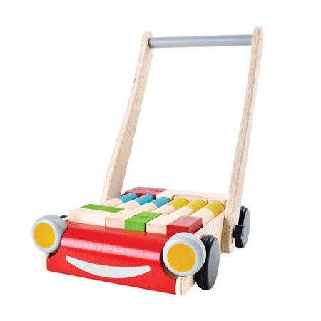 Drewniany wózek do pchania z klockami, Plan Toys®