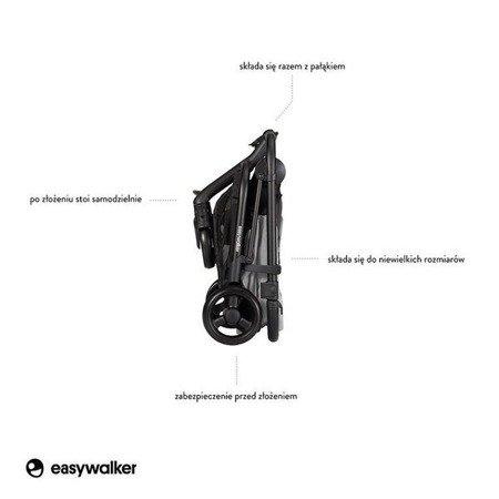 Easywalker Charley Wózek głęboko-spacerowy Cloud Grey z czarnymi kołami (zawiera stelaż, siedzisko z budką i pałąkiem)