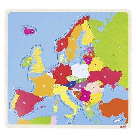Mapa Europy, drewniana układanka - puzzle, Goki®