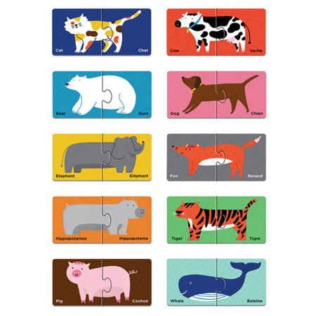 Mudpuppy Dwujęzyczne puzzle ze zwierzątkami do nauki pierwszych słów Angielski/Francuski 2+