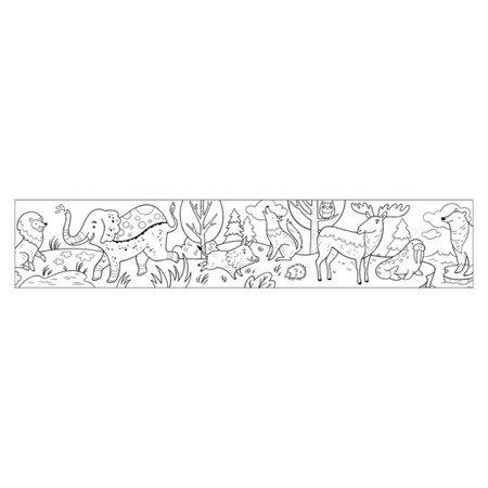 Mudpuppy Kolorowanka w rolce 76cm z 4 kredkami Zwierzeta Świata