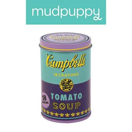 Mudpuppy Kredki świecowe Andy Warhol 18 sztuk w fioletowej puszce