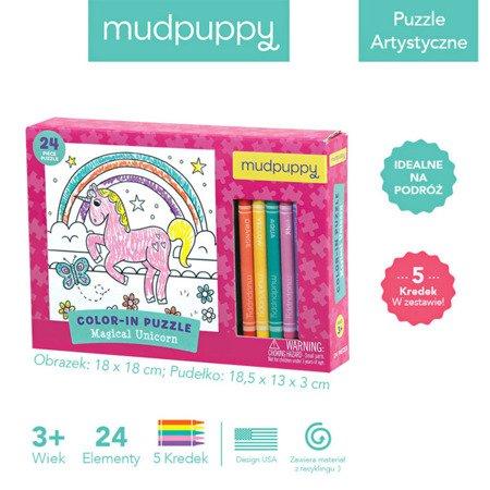 Mudpuppy Puzzle kolorowanka z 5 kredkami Magiczny Jednorożec