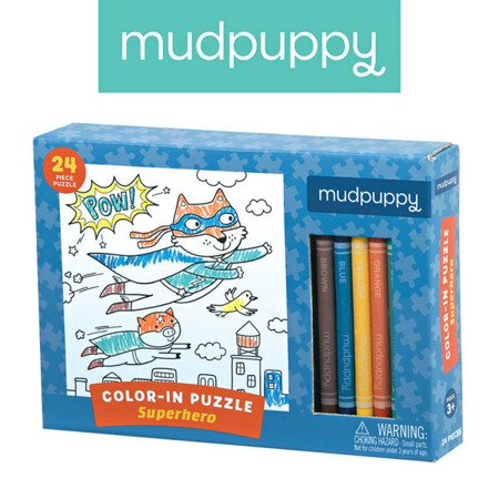 Mudpuppy Puzzle kolorowanka z 5 kredkami Superbohaterowie