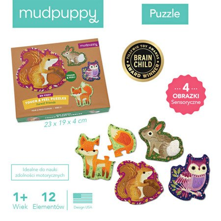 Mudpuppy Puzzle sensoryczne Leśne zwierzęta 1+