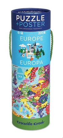 Puzzle 200el, motyw Mapa Europy, Crocodile Creek