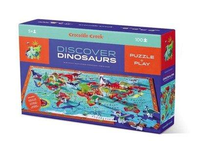 Puzzle odkrywcy z książeczką i figurkami – Dinozaury