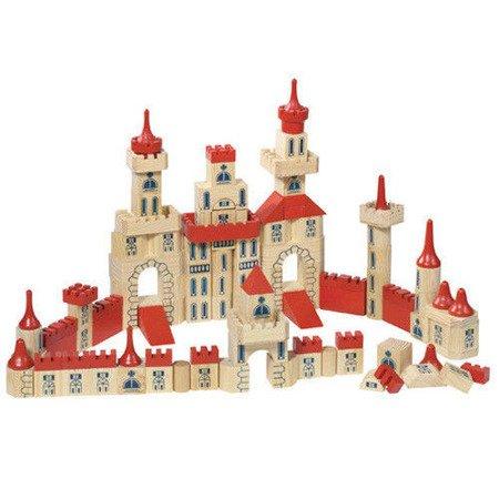 Zamek z klocków, drewniany zestaw, 150 części, Goki WB 505
